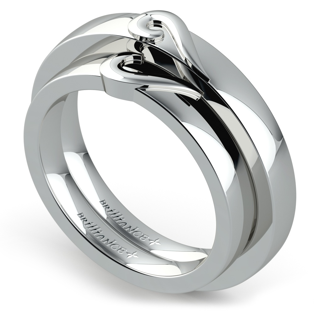 matching curled heart wedding ring set in white gold - White Gold Wedding Ring Sets
