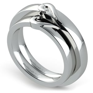 Matching Curled Heart Wedding Ring Set in White Gold