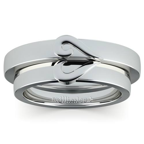 matching curled heart wedding ring set in white gold - Heart Wedding Rings