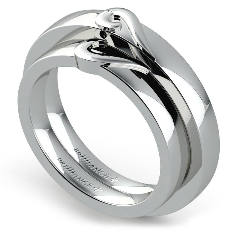 Matching Curled Heart Wedding Ring Set in White Gold | 01