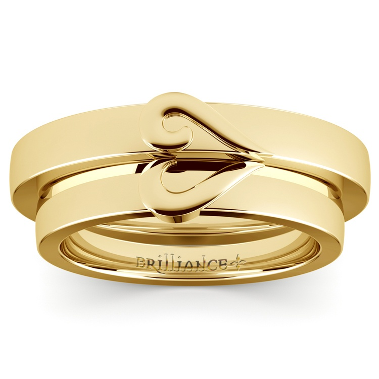 matching curled heart wedding ring set in yellow gold 02