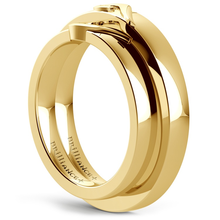 Matching Curled Heart Wedding Ring Set in Yellow Gold | 04