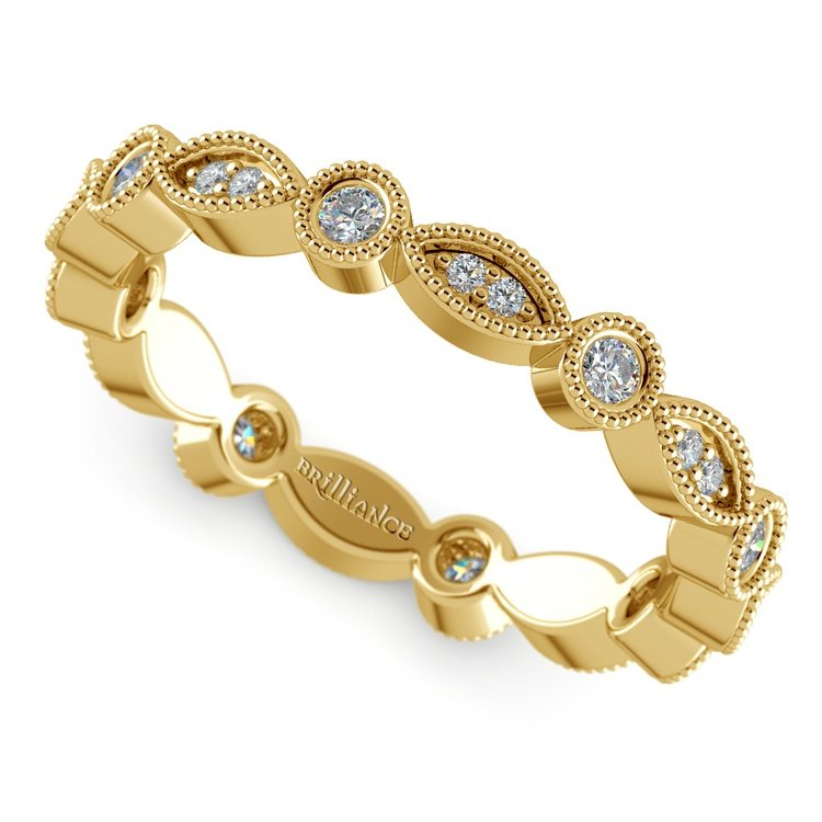 Edwardian Style Diamond Eternity Band in Yellow Gold | 01