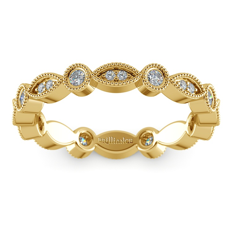 Edwardian Style Diamond Eternity Band in Yellow Gold | 02