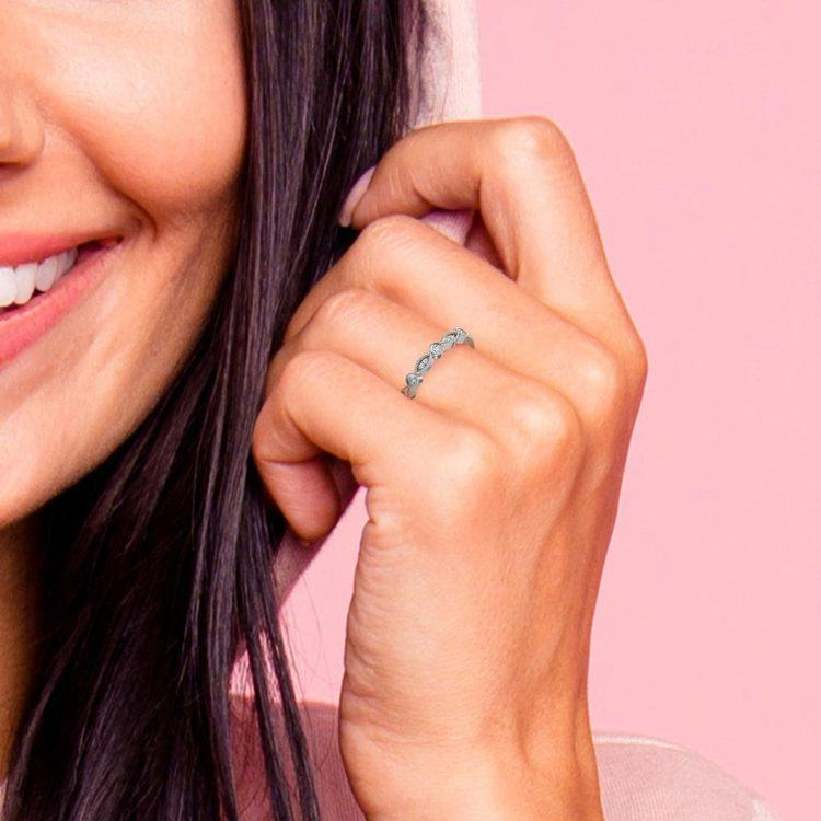Matching Edwardian Style Vintage Diamond Wedding Ring in Platinum | 07
