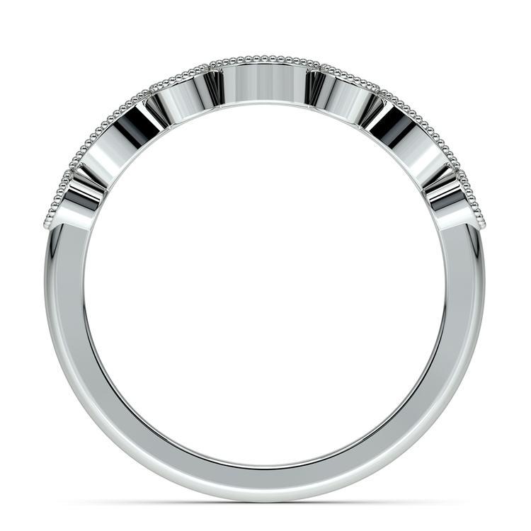 Matching Edwardian Style Vintage Diamond Wedding Ring in Platinum | 03