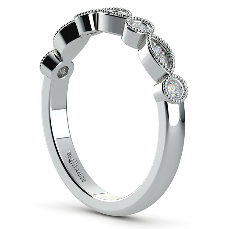 Matching Edwardian Style Vintage Diamond Wedding Ring in Platinum | 04