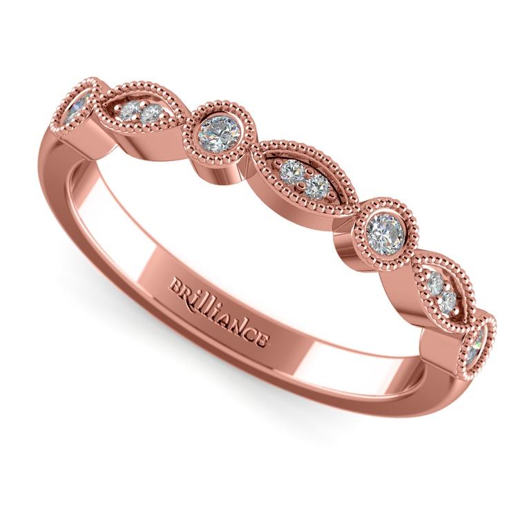 Matching Edwardian Style Vintage Diamond Wedding Ring in Rose Gold | 01