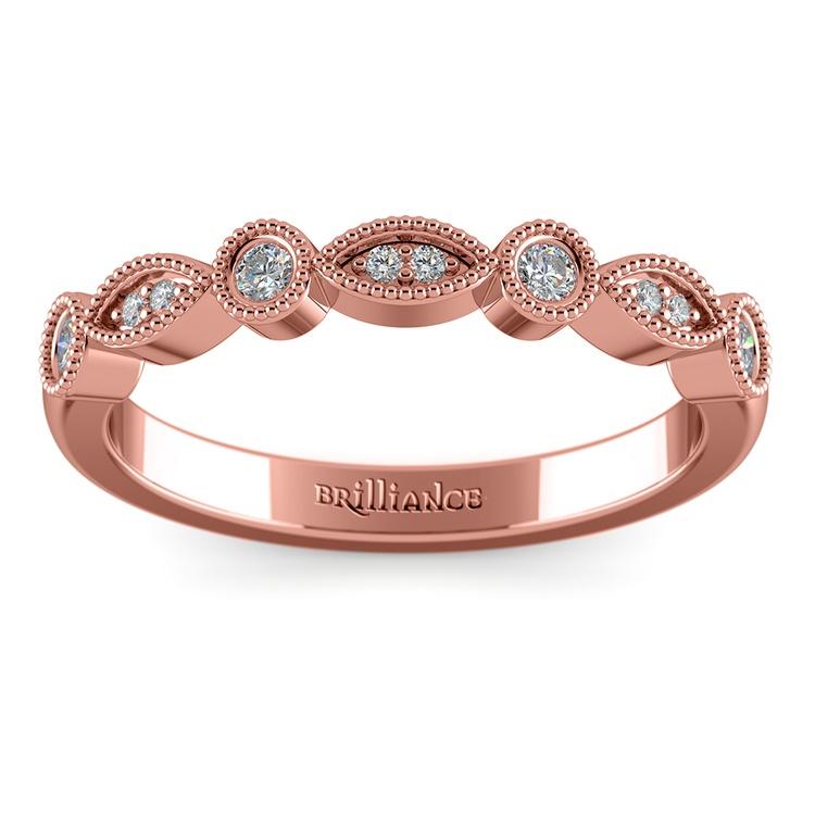 Matching Edwardian Style Vintage Diamond Wedding Ring in Rose Gold | 02