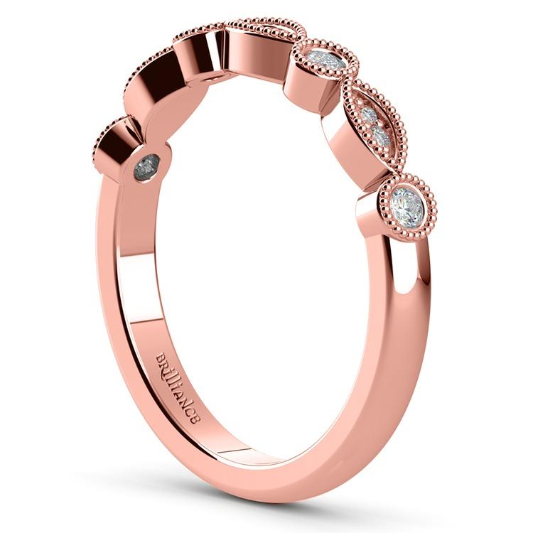 Matching Edwardian Style Vintage Diamond Wedding Ring in Rose Gold | 04