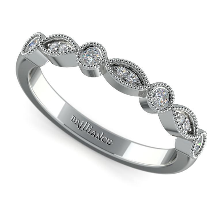 Matching Edwardian Style Vintage Diamond Wedding Ring in White Gold | 01