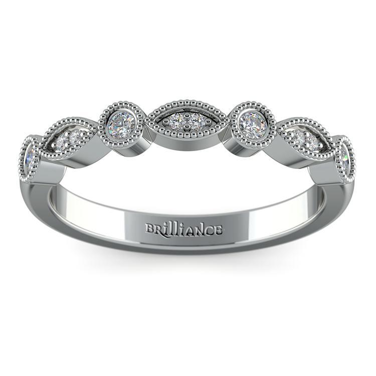 Matching Edwardian Style Vintage Diamond Wedding Ring in White Gold | 02