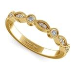 Matching Edwardian Style Vintage Diamond Wedding Ring in Yellow Gold | Thumbnail 01