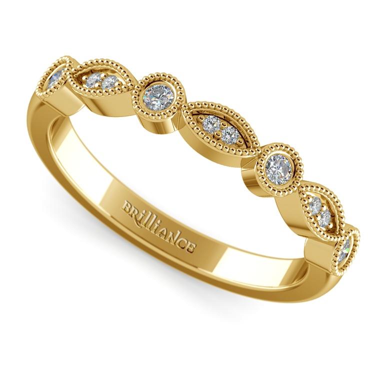 Matching Edwardian Style Vintage Diamond Wedding Ring in Yellow Gold | 01