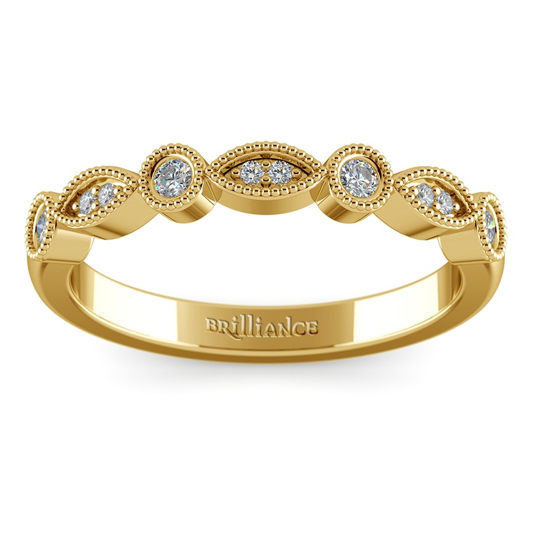 Matching Edwardian Style Vintage Diamond Wedding Ring in Yellow Gold   02