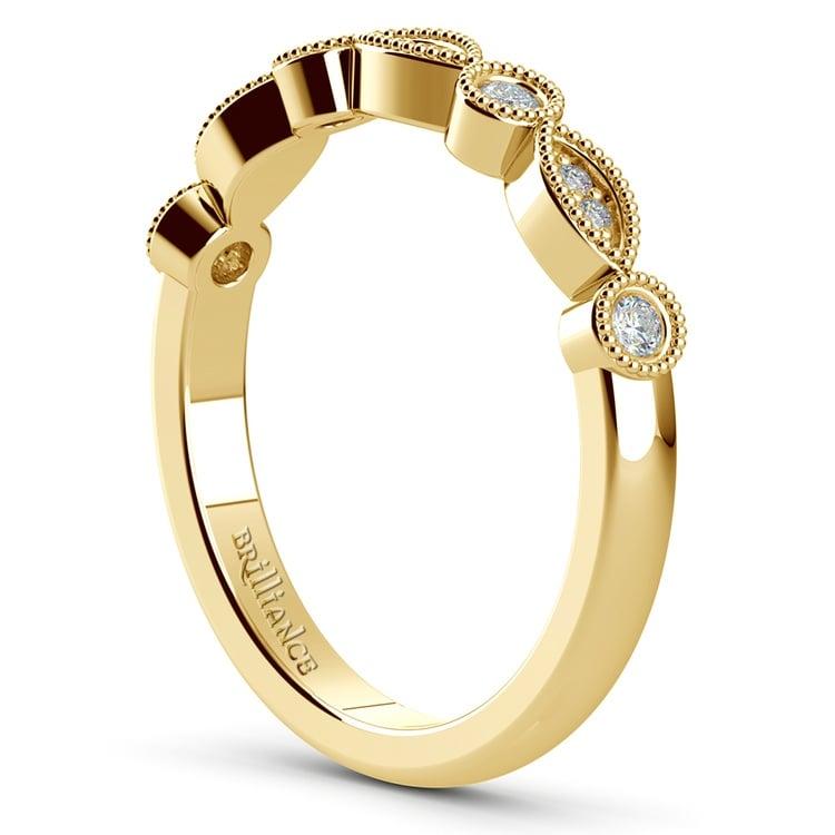 Matching Edwardian Style Vintage Diamond Wedding Ring in Yellow Gold | 04