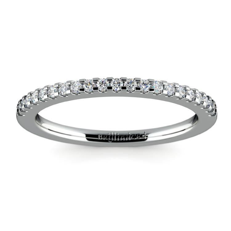 Matching Halo Pave Diamond Wedding Ring in Platinum | 02
