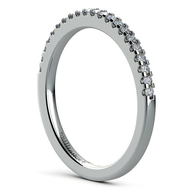 Matching Halo Pave Diamond Wedding Ring in Platinum | 04