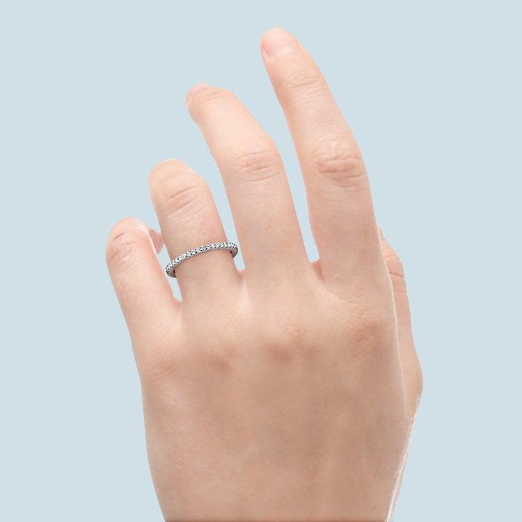 Matching Halo Pave Diamond Wedding Ring in Platinum | 06