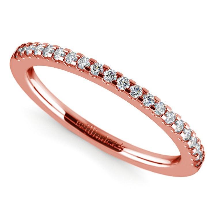 Matching Halo Pave Diamond Wedding Ring in Rose Gold | 01