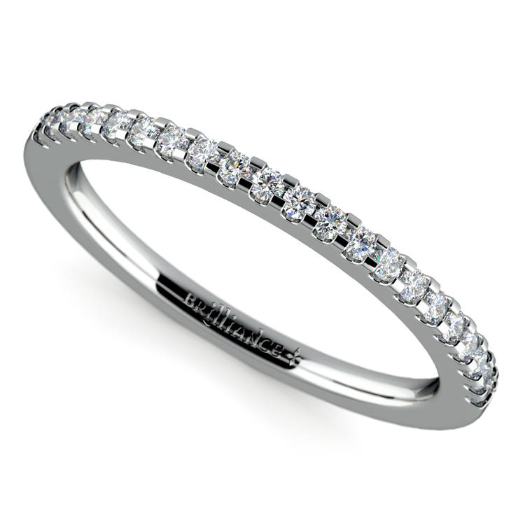 Matching Halo Pave Diamond Wedding Ring in White Gold | 01