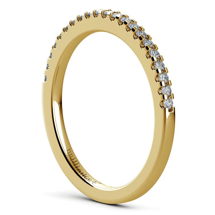 Matching Halo Pave Diamond Wedding Ring in Yellow Gold | 04
