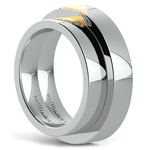 Matching Heart Fingerprint Inlay Wedding Ring Set in Platinum and Yellow Gold | Thumbnail 04