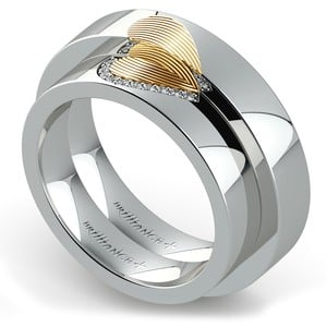 Matching Heart Fingerprint Inlay Wedding Ring Set in Platinum and Yellow Gold
