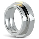 Heart Fingerprint Inlay Matching Wedding Ring Set in White and Yellow Gold | Thumbnail 04