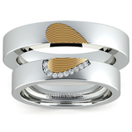 Heart Fingerprint Inlay Matching Wedding Ring Set in White and Yellow Gold | Thumbnail 05
