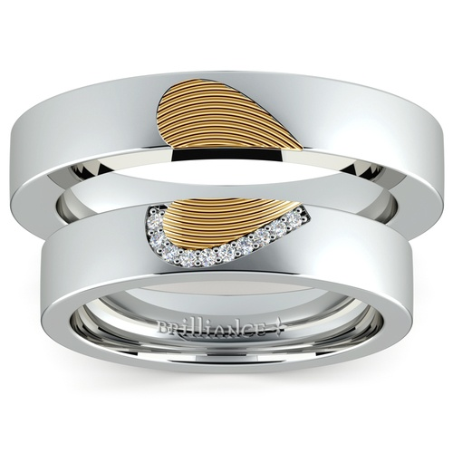 matching heart fingerprint inlay wedding ring set in white and yellow gold - Gold Wedding Ring Sets