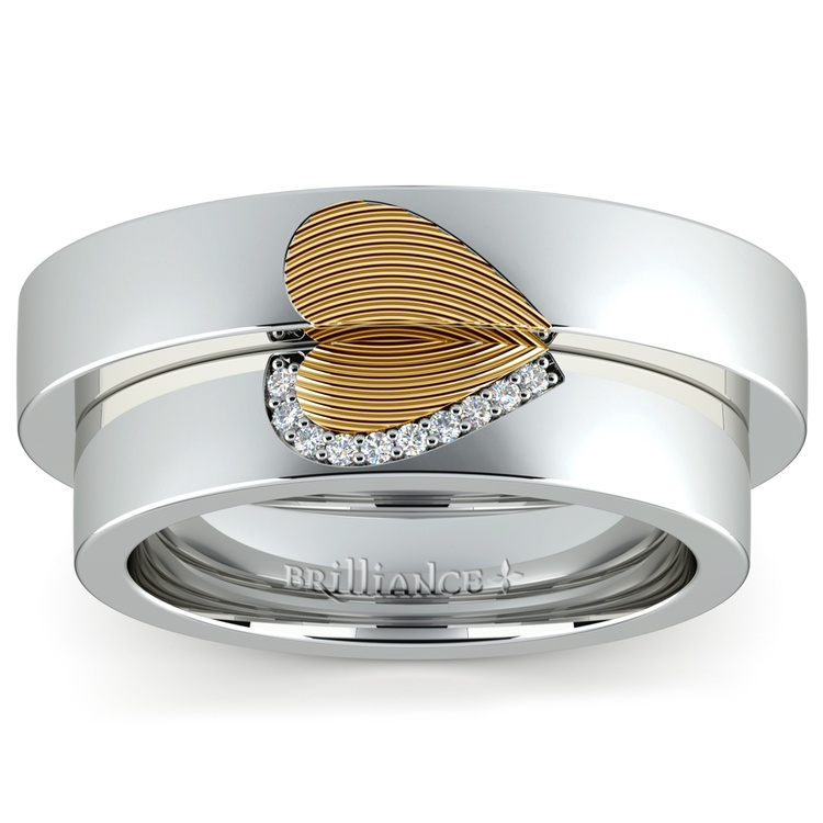 matching heart fingerprint inlay wedding ring set in white and yellow gold 02 - Heart Wedding Ring Set