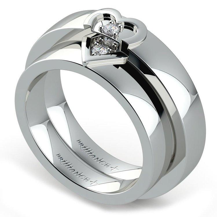 Matching Split Heart Diamond Wedding Ring Set in Palladium | 01