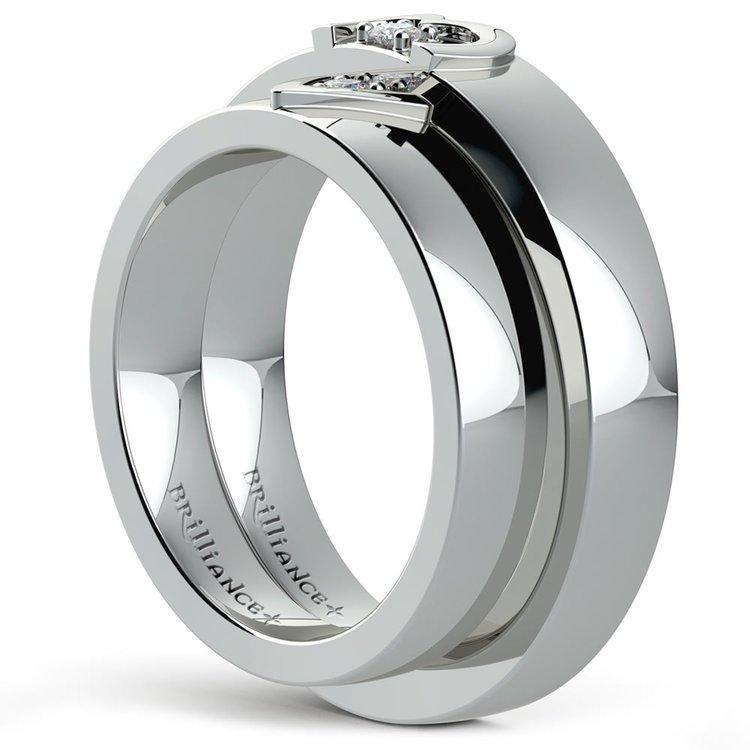 Matching Split Heart Diamond Wedding Ring Set in Palladium | 04