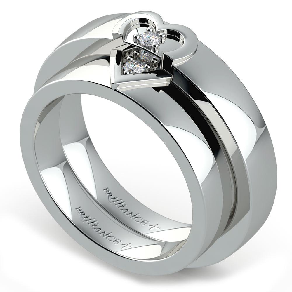 matching split heart diamond wedding ring set in palladium