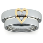 Matching Split Heart Diamond Wedding Ring Set in Platinum and Yellow Gold | Thumbnail 02