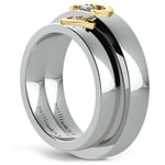 Matching Split Heart Diamond Wedding Ring Set in Platinum and Yellow Gold | Thumbnail 04