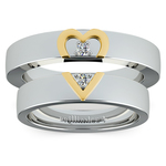 Matching Split Heart Diamond Wedding Ring Set in Platinum and Yellow Gold | Thumbnail 05