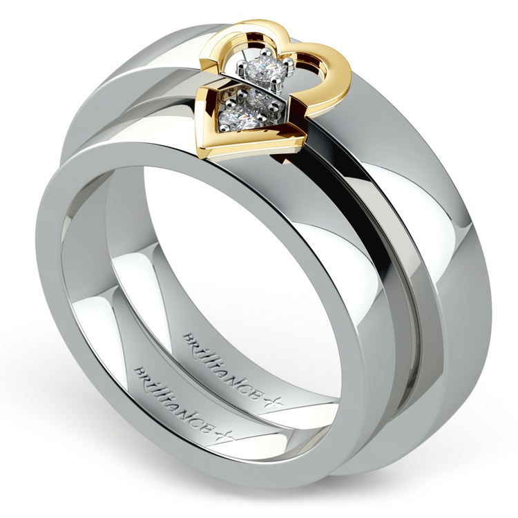 Matching Split Heart Diamond Wedding Ring Set in Platinum and Yellow Gold | 01