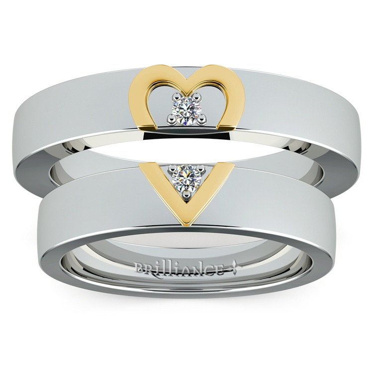 Matching Split Heart Diamond Wedding Ring Set in Platinum and Yellow Gold | 05