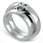 Matching Split Heart Diamond Wedding Ring Set in White Gold | Thumbnail 01