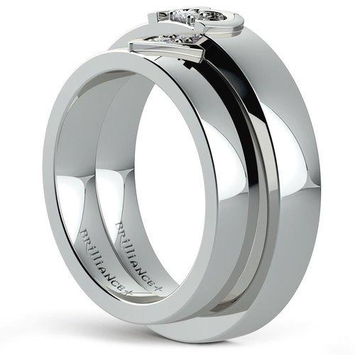 matching split heart diamond wedding ring set in white gold - White Gold Wedding Ring Sets