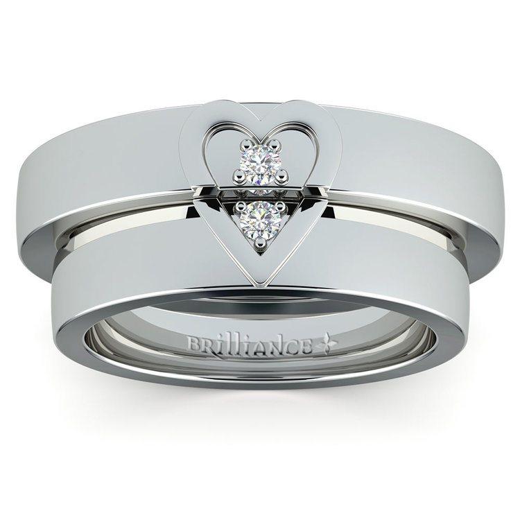 Matching Split Heart Diamond Wedding Ring Set in White Gold | 02
