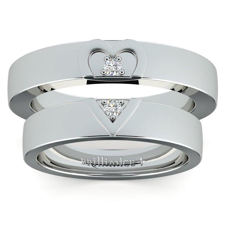 Matching Split Heart Diamond Wedding Ring Set in White Gold | 05