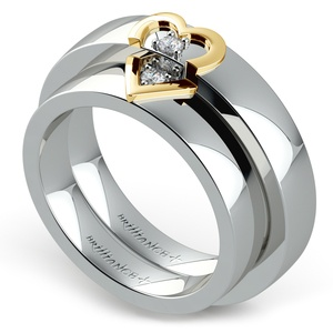 Matching Split Heart Diamond Wedding Ring Set in White and Yellow Gold