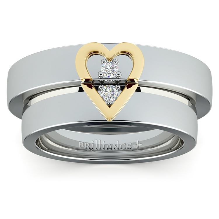 Matching Split Heart Diamond Wedding Ring Set in White and Yellow Gold | 02