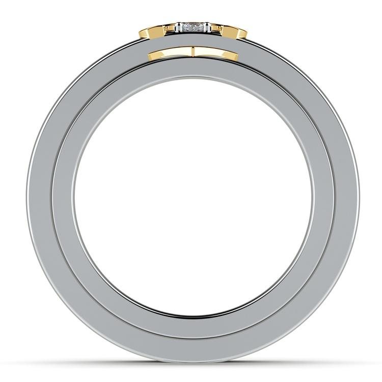 Matching Split Heart Diamond Wedding Ring Set in White and Yellow Gold | 03