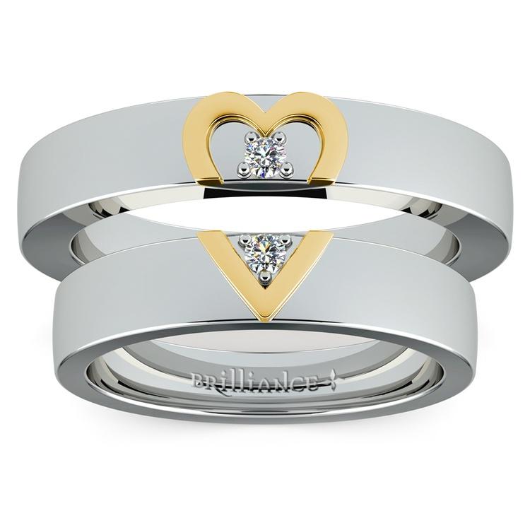Matching Split Heart Diamond Wedding Ring Set in White and Yellow Gold | 05
