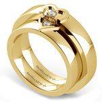 Matching Split Heart Diamond Wedding Ring Set in Yellow Gold | Thumbnail 01