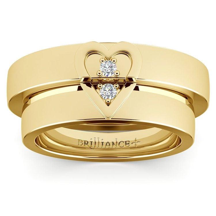 Matching Split Heart Diamond Wedding Ring Set in Yellow Gold | 02